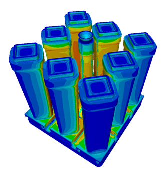 Temperature in several ingots cast in a cluster